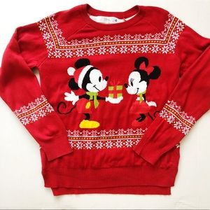 Disney Mickey & Minnie Christmas Sweater Sz M